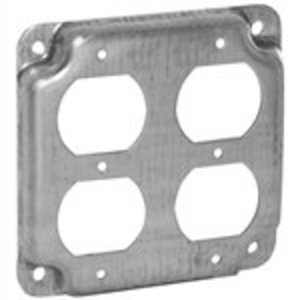 "Hubbell-Raco 907C 4"" Square Exposed Work Cover, (2) Duplex Receptacles"