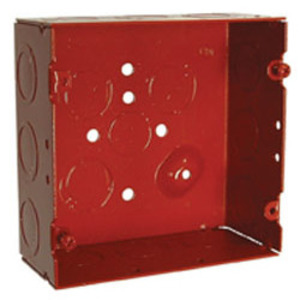 "Hubbell-Raco 911-12 4-11/16"" Square Fire Alarm Box, Red, Welded, Depth: 2-1/8"", Metallic"