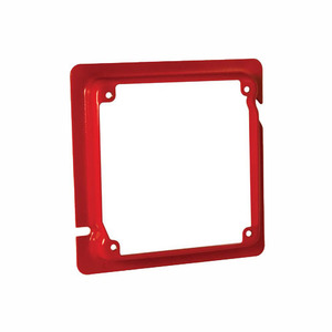 "Hubbell-Raco 911-16 4-11/16"" Square Mud Ring, Raised 5/8"", Welded, Metallic, Red"