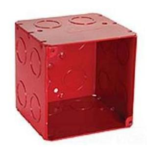 "Hubbell-Raco 911-2 4"" Square Alarm Box, Red, Welded, Depth: 3-1/2"", Metallic"