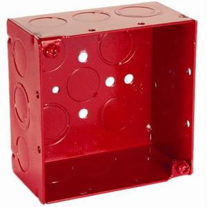 "Hubbell-Raco 911-3 4"" Square Alarm Box, Red, Welded, Depth: 2-1/8"", Metallic"