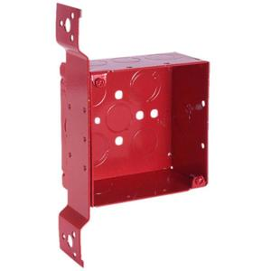 """Hubbell-Raco 911-4 4"""" Square, Red Alarm Box, Welded, Depth:  2-1/8"""", Metallic"""