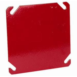 "Hubbell-Raco 911-8 4"" Square Fire Alarm Box Cover, Red, Drawn, Metallic"