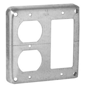 """Hubbell-Raco 915 4"""" Square Exposed Work Cover, (1) GFCI & (1) Duplex, Raised 1/2"""", Steel"""