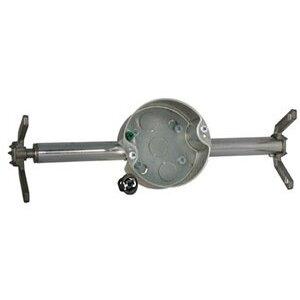"""Hubbell-Raco 936 4 """" Ceiling Fan Support Box/Brace, 1-1/2"""" Deep, 1/2"""" KOs, Metallic"""