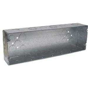 "Hubbell-Raco 945 Gang Box, 6-Gang, 2-1/2"" Deep, 1/2"" and 3/4"" KOs, Welded, Steel"