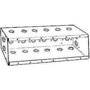"Hubbell-Raco 960 Masonry Box, 6-Gang, 2-1/2"" Deep, 1/2 and 3/4"" KOs, Steel"