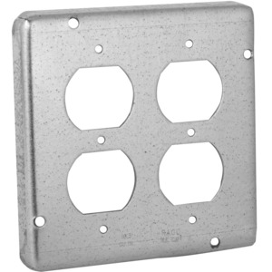 """Hubbell-Raco 979 4-11/16"""" Square Exposed Work Cover, (2) Duplex Receptacle"""
