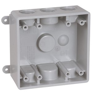 "Hubbell-TayMac PDB77550GY Weatherproof Outlet Box, 2-Gang, Depth: 2"", (7) 1/2"" or 3/4"" Hubs"