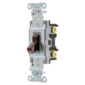 Hubbell-Wiring Kellems CS115 Switch, Toggle, 15A, 120/277VAC, 1-Pole, Brown