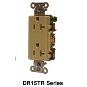 Hubbell-Wiring Kellems DR20WHITR Tamper Resistant Decora Duplex Receptacle, 20A, 125V, White
