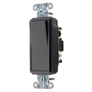 Hubbell-Wiring Kellems DS320BK Decorator 3-Way Rocker Switch, 20A, 120/277VAC, Black