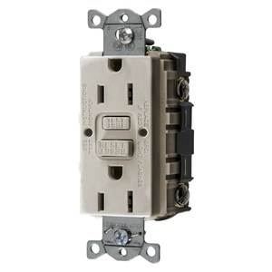 Hubbell-Wiring Kellems GFRST15LA Self-Test GFCI Receptacle, 15A, 125V, Light Almond