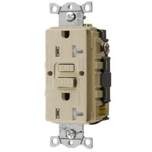 Hubbell-Wiring Kellems GFTRST20I Tamper Resistant GFCI Receptacle, Self-Test, 20A, Ivory