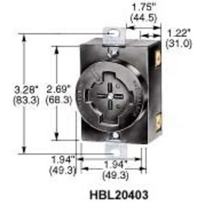 Hubbell-Wiring Kellems HBL20403 Locking Receptacle, 30A@600VAC, 20A@250VDC, 3P4W