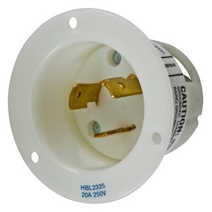 Hubbell-Wiring Kellems HBL2325 Locking Flanged Inlet, 20A, 230V, L6-20P, White