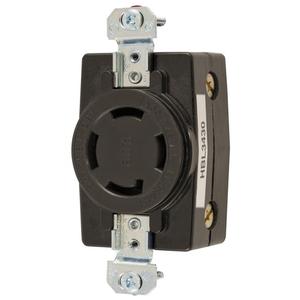 Hubbell-Wiring Kellems HBL3430 Locking Receptacle, Non-NEMA, 30A, 3PH Wye 120/208V, 4P4W, Black