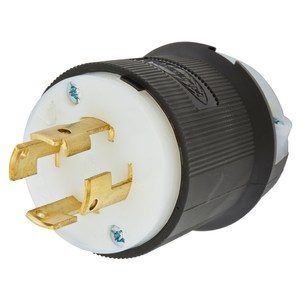 Hubbell-Wiring Kellems HBL3431GCB Locking Plug, Non-NEMA, 30A 3PH 250V, 3P4W, Black/White