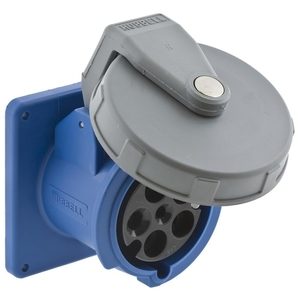 Hubbell-Wiring Kellems HBL5100R9W Pin & Sleeve Receptacle, 100A, 3PH Wye 120/208V, 4P5W, Blue