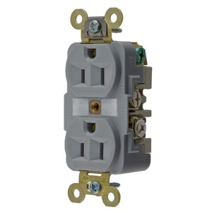 Hubbell-Wiring Kellems HBL5262GY Duplex Receptacle, 15A, 125V, Gray, Industrial Grade