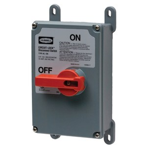 Hubbell-Wiring Kellems HBLDS3NK Disconnect Switch, Rotary, 30A, 600VAC, 3P, No Knock Outs