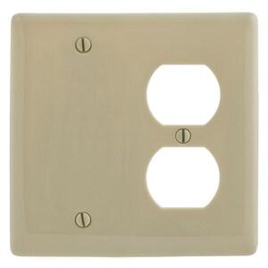 Hubbell-Wiring Kellems NP138I Combo Wallplate, 2-Gang, Blank/Duplex, Nylon, Ivory, Standard
