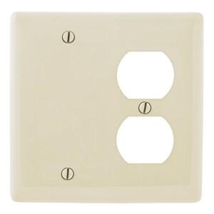 Hubbell-Wiring Kellems NP138LA Combo Wallplate, 2-Gang, Blank/Duplex, Nylon, Light Almond, Standard