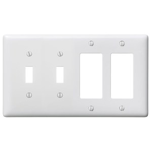 Hubbell-Wiring Kellems NP2262W Combo Wallplate, 4-Gang, (2) Toggle, (2) Decora, Nylon, Standard, White