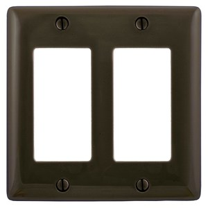 Hubbell-Wiring Kellems NP262 Decora Wallplate, 2-Gang, Nylon, Brown