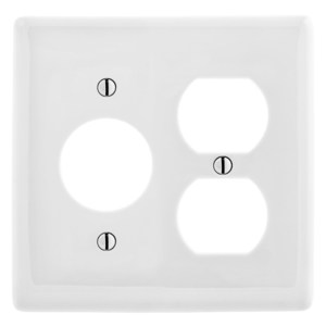 Hubbell-Wiring Kellems NP78W Combo Wallplate, 2-Gang, Single Receptacle/Duplex, Nylon, White