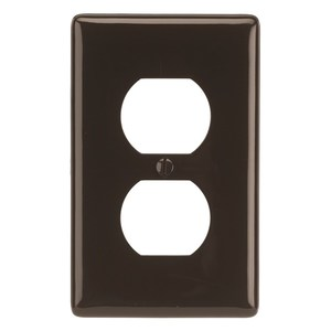 Hubbell-Wiring Kellems NP8 Duplex Receptacle Wallplate, 1-Gang, Nylon, Brown