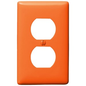 Hubbell-Wiring Kellems NP8OR Duplex Receptacle Wallplate, 1-Gang, Orange, Limited Quantities Available