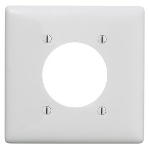 Hubbell-Wiring Kellems NPJ703W Single Receptacle Wallplate, 2-Gang, (1) 2.16' Hole), Nylon, White