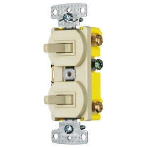 Hubbell-Wiring Kellems RC101I Combination Switch, Toggle, (2) 1-Pole, 15A, 120V, White