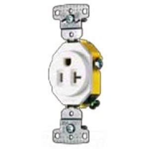 Hubbell-Wiring Kellems RR201W Single Receptacle, 20A, 125V, 5-20R, White