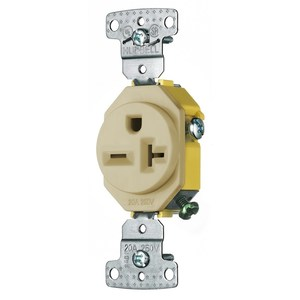 Hubbell-Wiring Kellems RR205I Single Receptacle, Residential, 20A, 250V, 2P3W, Ivory