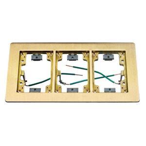 "Hubbell-Wiring Kellems SB3085W Flange, Rectangular, 3-Gang, Size: 6 x 11.34"", Brass"