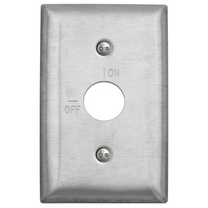 Hubbell-Wiring Kellems SS12RKL Barrel Key Switch Wallplate, 1-Gang, On/Off Markings, Stainless Steel