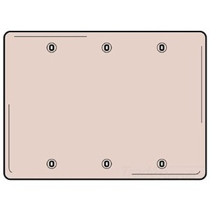 Hubbell-Wiring Kellems SS33 Blank Wallplate, 3-Gang, Standard, Stainless Steel, Box Mount