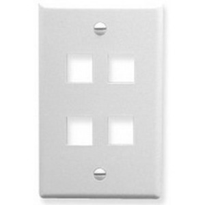 ICC IC107F04WH Wallplate, 4-Port, 1-Gang, Keystone, Rear Load, Flush, White