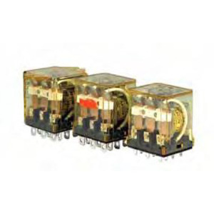 IDEC RH3B-ULAC24V Relay, Ice Cube, 10A, 11-Blade, 3PDT, 24VAC Coil, Indicator