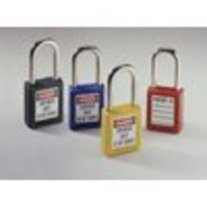 "Ideal 44-918 Xenoy Padlock, Safety Lockout, Key Retention, 1-1/2"" Shackle Clearance, Yellow"