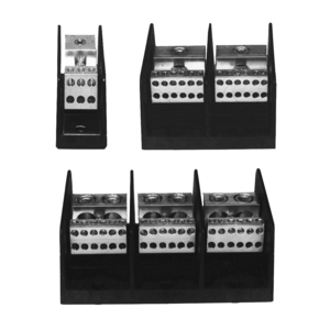 Ilsco PDB-26-2/0-3 Connector Block, Double Primary/Multiple Secondary, 3-Pole, 350A