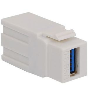 International Connectors & Cable IC107UAAWH Snap-In Connector, Module, USB 3.0, Feed-Through, White