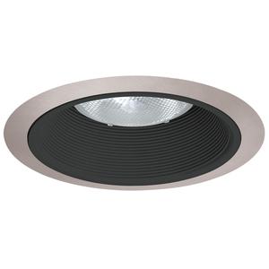 "Juno Lighting 24-BSC Baffle Trim, Tapered, 6"", Black Baffle/Satin Chrome Trim"