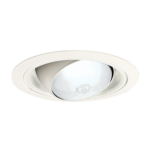"Juno Lighting 249-WWH Eyeball Trim, Regressed w/ Baffle, 6"", White Baffle/White Trim"