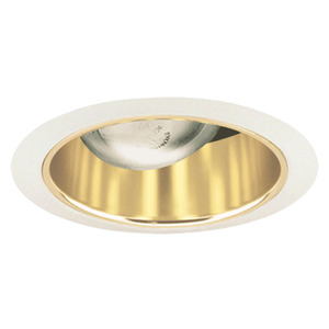 "Juno Lighting 26-GWH Cone Trim, Straight, 6"", Gold Alzak Reflector/White Trim"