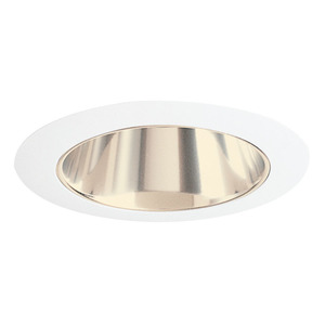 "Juno Lighting 447-GWH Cone Trim, Adjustable, 4"", Gold Reflector/White Trim"