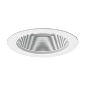 "Juno Lighting V3025-WWH Straight Baffle Trim, 6"", White Baffle/White Trim"