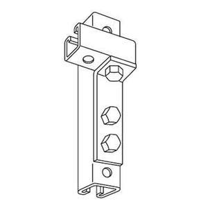 "Kindorf B-916 Angle Connector, 3 Holes, Bolt Hole: 9/16"", Steel/Galvanized"